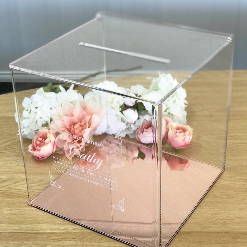 1x Acrylic Wishing Well Wedding Box Rose Gold Base image 0