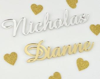 1x Laser Cut Acrylic Name Place cards Wedding, Baptism, Christening, Birthday