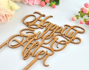 1 x Wooden Happily Ever After Cake Topper