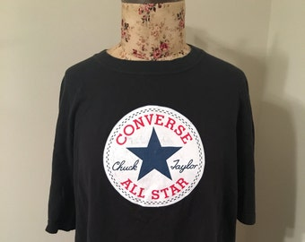 f4fb73d64b03 Vintage 1980s 1990s Converse Chuck Taylor All Star Tee Size 2XL High Top  Sneaker Inspired Grunge Rocker Shirt Black White Red Size 2XL