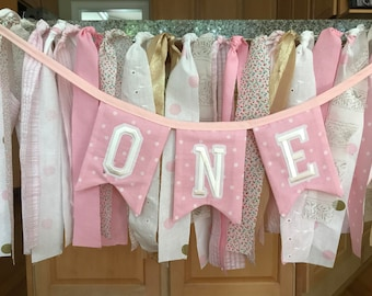 ONE Banner, I am one, 1st Birthday Banner, Cake Smash Prop, 1st Birthday Banner, Birthday Bunting, Highchair Banner, Ragtie ONE