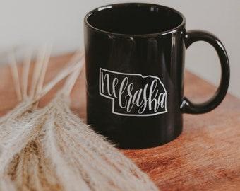 Nebraska coffee mug | black 11 oz. coffee cup