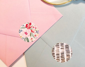 Watercolor Stickers   Sheet of 4   Decorative envelope stickers