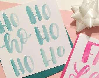 Ho Ho Ho card | Handmade blank holiday card