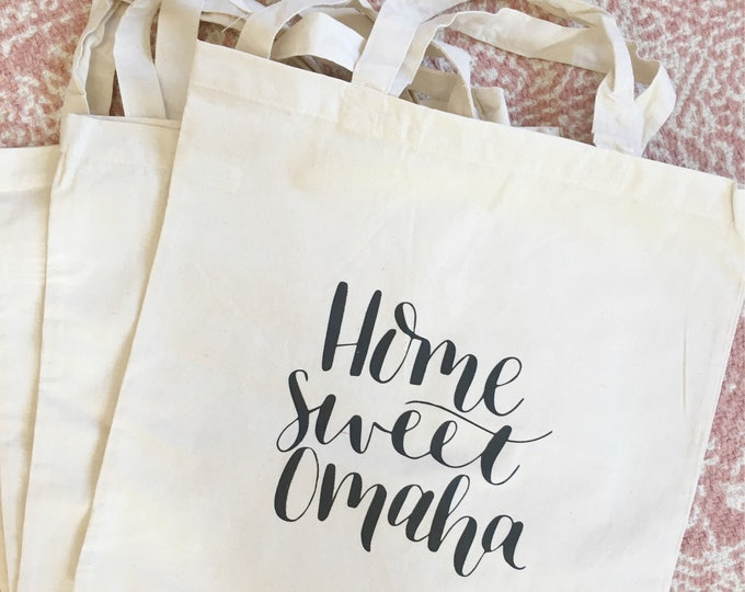 Featured listing image: Home Sweet Omaha farmers market tote bag