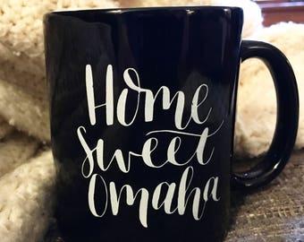 Back in stock! Home Sweet Omaha mug