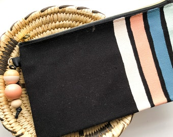 Modern stripe pencil case | Handpainted cotton canvas pencil case