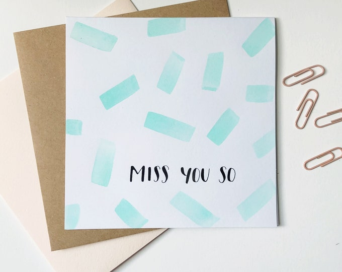 Featured listing image: Miss You So | Watercolor card