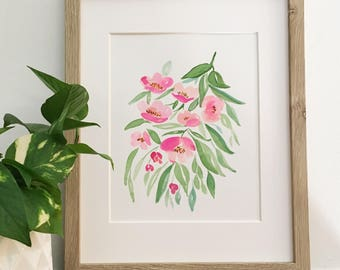 Hot pink watercolor florals | Original, signed painting