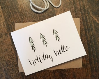Holiday Hello notecards | Set of 4 handmade holiday cards