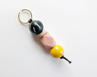 Black Dash + Millenial Pink Keychain | Handpainted wood bead keychain | READY TO SHIP