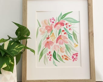 Cascading peach watercolor flowers | Original, signed painting
