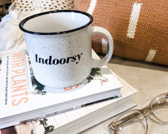 Indoorsy campfire mug | white speckled 13 oz. coffee cup