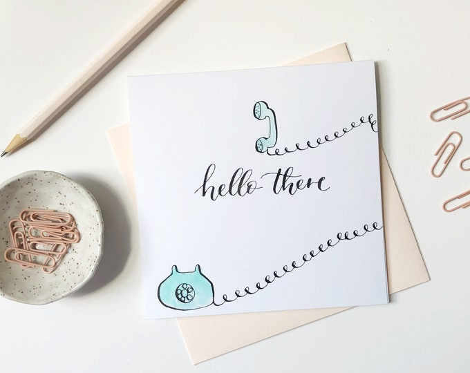 Featured listing image: Hello There   Watercolor card