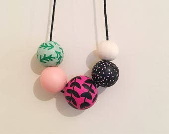 Handpainted Wooden Bead necklace | Fushia vines and green fern | READY TO SHIP