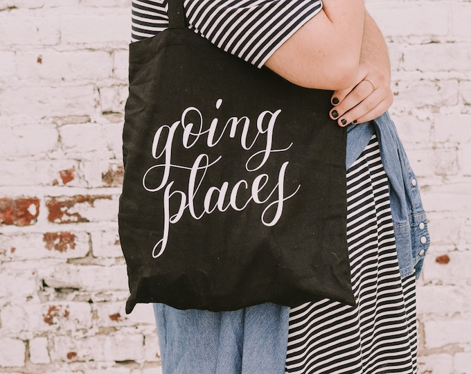 Featured listing image: Going Places tote bag | market tote | Reusable bag