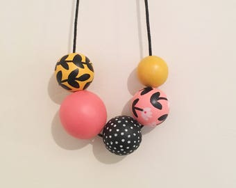 Handpainted Wooden Bead necklace | mustard and coral florals | READY TO SHIP