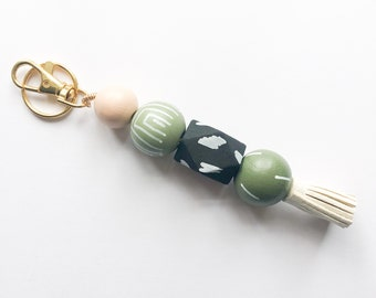 Moss Keychain with Tassel & Clip