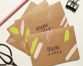 Positive Vibes cards | Set of 4 hand-painted notecards