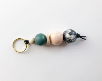 Just Peachy Keychain  | Handpainted wood bead keychain | READY TO SHIP
