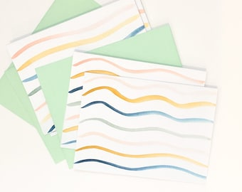Calm Waves cards | Set of 4 notecard | Blank inside