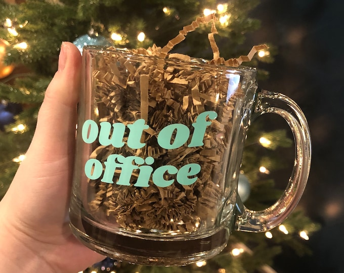 Featured listing image: Out of office mug | 11 oz clear glass mug