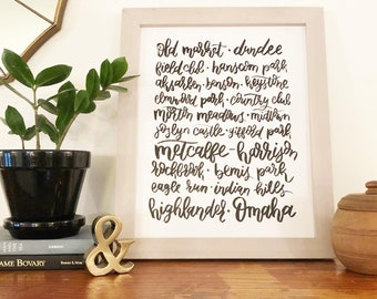 Omaha Neighborhoods brush calligraphy with florals | READY TO SHIP | Original artwork, Not a print