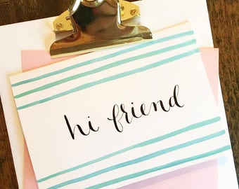 Hi Friend notecards | Set of 4 handpainted blank cards