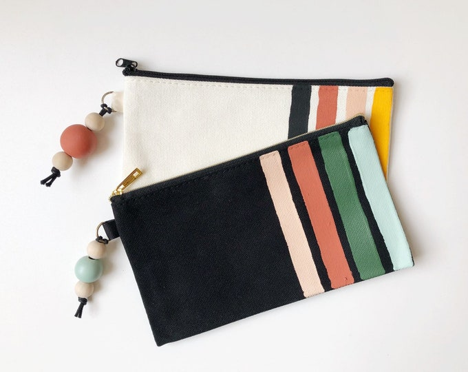 Featured listing image: Retro Stripes pencil case | Handpainted cotton canvas pencil case | Handpainted bead tassel | Carry-all or Makeup bag
