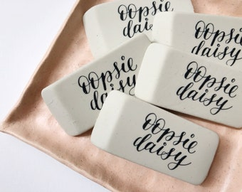 Oopsie Daisy erasers | modern calligraphy design | desk supplies