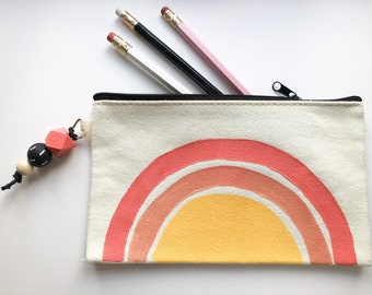 Sunrise pencil case | Handpainted cotton canvas pencil case