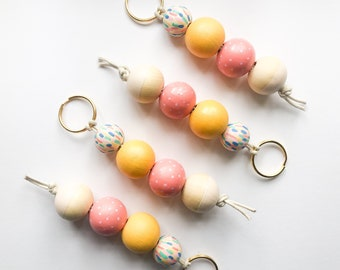 Confetti Keychain | Handpainted wood bead keychain | READY TO SHIP