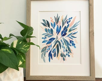 Indigo & coral watercolor floral burst | Original, signed painting
