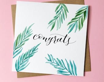 Congrats | Watercolor ferns card | READY TO SHIP