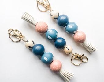Blue Skies, Pink Clouds Keychain with Tassel & Clip