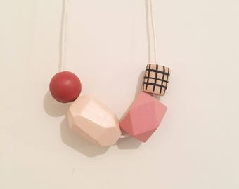 Handpainted Wooden Bead necklace | warm neutral pallette| READY TO SHIP