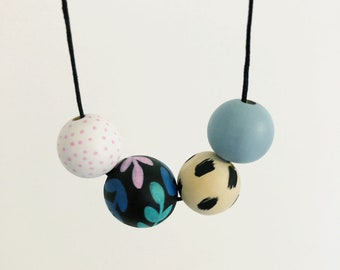 Handpainted Wooden Bead necklace | Tropical vine  | READY TO SHIP