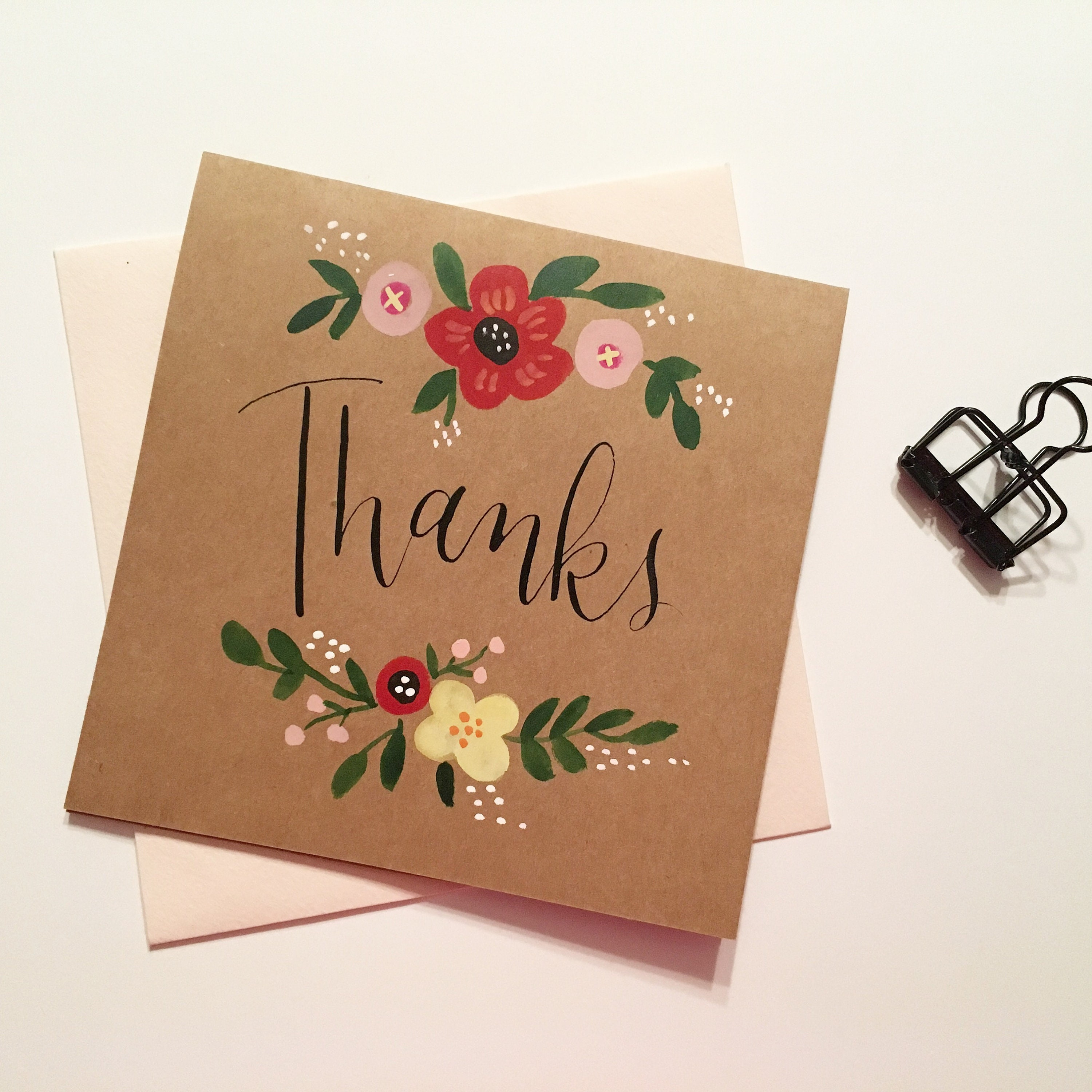 Thanks Card Hand Painted Card Ready To Ship