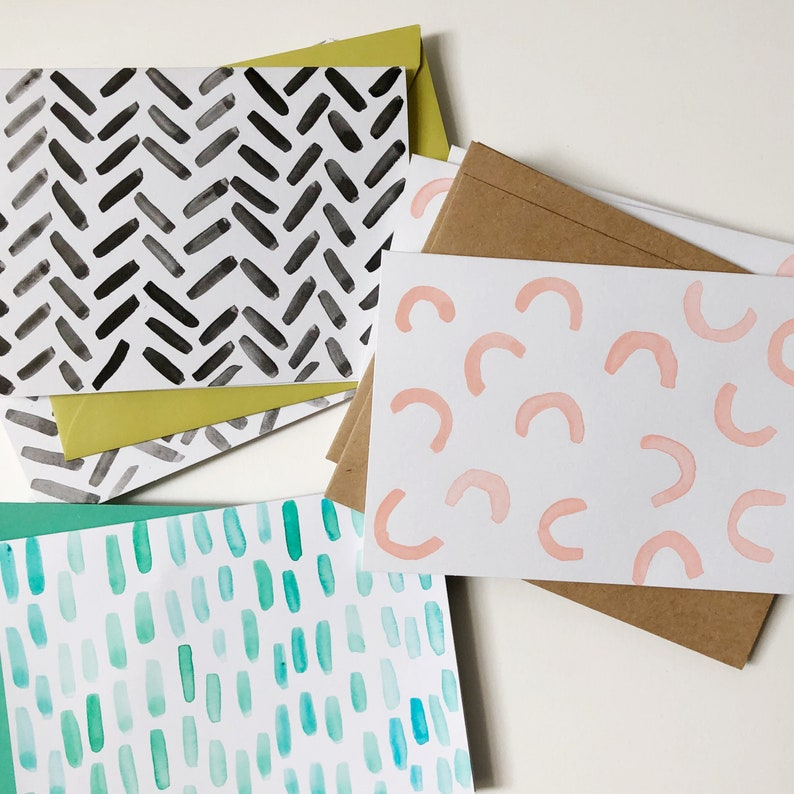 READY TO SHIP Set of 4 watercolor notecards Handmade Blush arcs blank cards