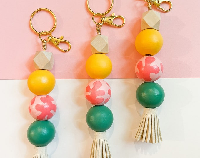 Featured listing image: Go with the flow keychain | handpainted wooden bead keychain with leather tassel
