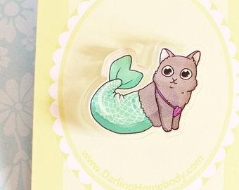 Purrmaid Pin. Cute Magical Cat Mermaid Pin. Mercat Mythical Creature. Gift Ideas for Cat Lovers. Fantasy Kitty Pin.