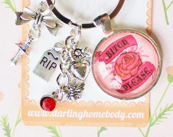 Bitch Please Rude Buds Key Chain. Pastel Flower Petal Keychains for Women. Sarcastic Keychain Accessories. Small Birthday Gift for Her.