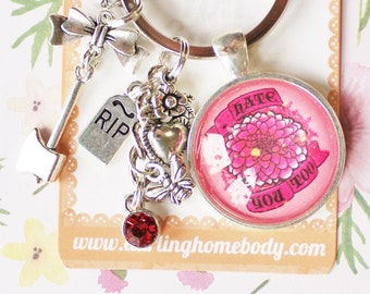 Hate You Too Rude Buds Key Chain. Cute Sarcastic Keychain. Pastel Petal Key Charm. Wildflower Bag Accessory for Women. Funny Keychain Gift.