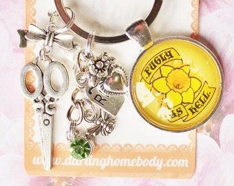 Fugly As Hell Rude Buds Key Chain. Cute Flower Petal Keychain. Pastel Punk Key Charm. Sarcastic Accessory for Women. Kawaii Goth Keychain.