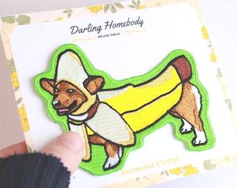 4in Embroidered Patch. Corgi Banana. Welsh Corgi Mom Gift. Pembroke Corgi Dad Gift. Kawaii Corgi Lover Patch.