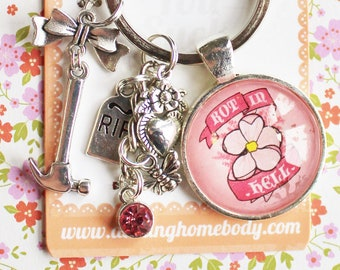 Rot in Hell Rude Buds Key Chain. Small Birthday Gift for Her. Funny Sarcastic Floral Accessory. Pink Pastel Cherry Blossom Flower Keychain.