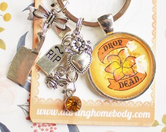 Drop Dead Rude Buds Key Chain. Pastel Flower Keychains for Women. Decora Charm. Sarcastic Keychain Accessories. Small Birthday Gift for Her.