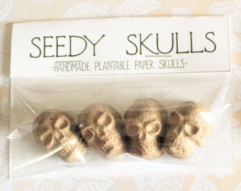 Plantable Paper Skulls / Skull Seed Bombs / Brown Seedy Skulls / Recycled Paper Pulp Craft / Spring Summer Small Gift / Wild Flowers