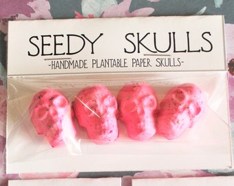 Plantable Paper Skulls / Seed Bombs / Bright Pink Seedy Skulls Pack / Garden Plants / Spring Summer Small Gift / Pastel Goth Wedding Flowers