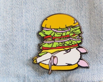 Enamel Pin Burger Baby. Meat is Murder Lapel Pin. Plant Powered Vegan. Vegetarian Lapel Pin. Animal Rights Friends Not Food.